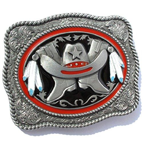Preisvergleich Produktbild Western-Buckle Sheriff, Hut, Stiefel & Indianer-Federn, Gürtelschnalle