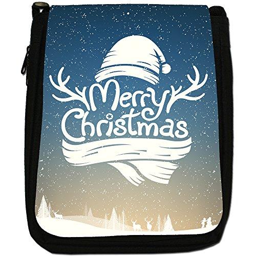 Neve Tipografia auguri di Natale Medium Nero Borsa In Tela, taglia M Reindeer Antler Merry Christmas
