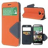 Handy Schutz in Perfektion | Ultra Slim Premium Handy Flip Case Cover Klapp Leder Tasche Schutz Hülle Etui Bumper mit Fenster aus hochwertigem Kunstleder mit Silikon Innen Schale Original Roar Fancy Case Für HTC One M9 Orange