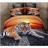 Ailiebhaus Baumwolle 3D Bettwäsche 4-teilig Bettbezug, Tier Bettdecken,Queen Size Tiger#1