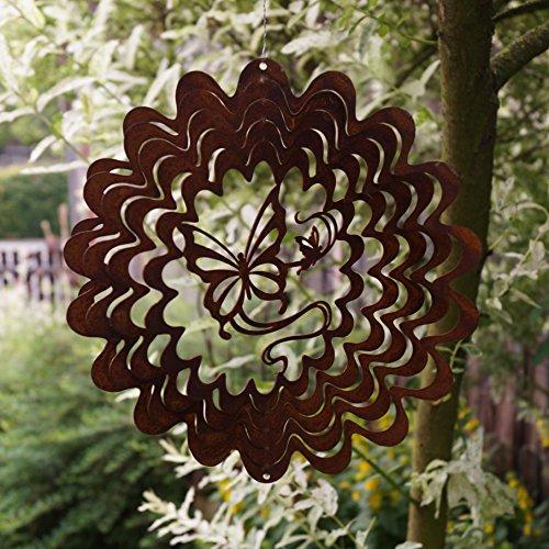 Dekostüberl Rostalgie Edelrost Windspiel Schmetterling filigran D22 cm in welliger Form Gartendeko, inkl. Herz 8x6cm