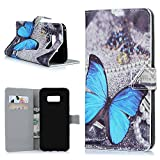 S8 Plus Wallet Case MAXFE.CO Vintage PU Leather Flip Kickstand Case with Card Slots & Magnetic Clasp for Samsung Galaxy S8 Plus, Blue Butterfly