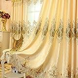 2er-Set Europäische goldene Luxuxjacquard-Vorhänge für Schlafzimmer Wohnzimmer (230*140 cm)