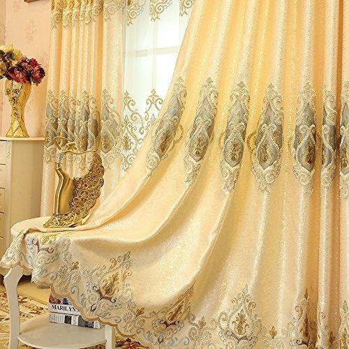 2er-Set Europäische goldene Luxuxjacquard-Vorhänge für Schlafzimmer Wohnzimmer (230*140 cm) - Wohnzimmer-sets Vorhänge Für