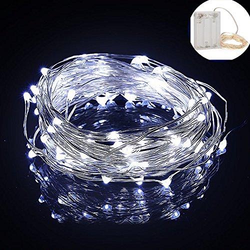 Yakamoz LED Guirlandes Lumineuses 10M 100 LEDs Comme Etoilées Lumières LED pour Noël Mariage Décoration d'extérieur et intérieure Blanc Froid Lumière Avec Boîte de Batterie