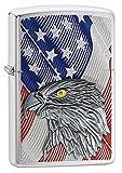 Zippo Eagle Flag Benzinfeuerzeug, Messing, Transparent, 6 x 6 x 8 cm