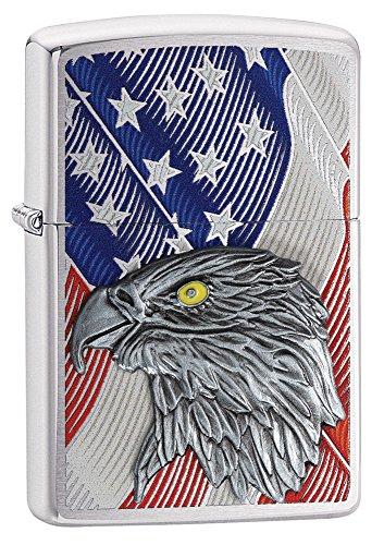 Zippo Unisex- Erwachsene Eagle Flag Benzinfeuerzeug, Transparent, 6 x 6 x 8 cm