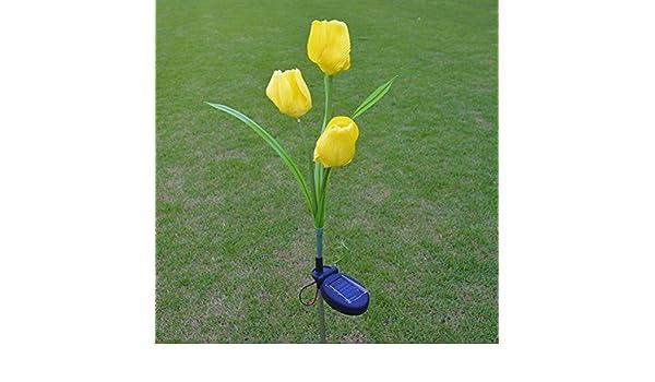 Lampada Fiore Tulipano : Masunn 2v energia solare mult tulipano fiore giardino palo paesaggio