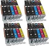 ESMONLINE 20 Komp. XL Druckerpatronen für Canon Pixma TS 5050 5051 5053 5055 6050 6051 6052 8050 8051 8052 8053 9050 9055 / Canon Pixma MG5700 MG5750 MG5751 MG5752 MG5753 MG6800 MG6850 MG6851 MG6852 MG6853 MG7700 MG7750 MG7751 MG7752 MG7753 4 x Schwarz 4 x Photoschwarz 4 x Blau 4 x Rot 4 x Gelb