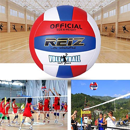 Yaoaomon Reiz Professional Soft Volleyball Ball Competition Training Ball Official Size White & red & Blue