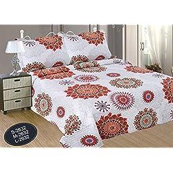 ForenTex- Colcha Boutí, (L-2632), cama 150 cm, 240 x 260 cm, Estampada cosida, Mandala Naranja, colcha barata, set de cama, ropa de cama. Por cada 2 colchas o mantas paga solo un envío (o colcha y manta), descuento equivalente antes de finalizar la compra.