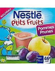 Nestlé Bébé P'tits Fruits Pommes Prunes - Compote dès 6 mois - 4 x 100g