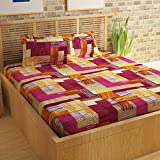 Story@Home 152 TC 100% Cotton Classic Elegant Geometrical Pattern 1 Pc Double Bedsheet with 2 Pillow Covers Brown and Magenta