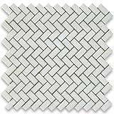 THASSOS weiß griechischen Marmor Fischgrätenmuster Mosaik Fliese 5/8x 11/4geschliffen