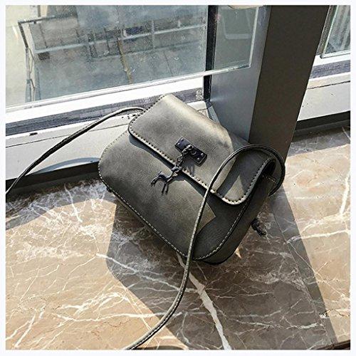 Xmansky Jahrgang Klein Leder Handtasche Beiläufig Tasche Grau