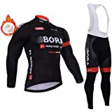 Zipper Long Sleeve Bicycle Jersey+5D Gel Pad Cycling Pant,Winter Thermal Fleece Cycling Clothing for Men