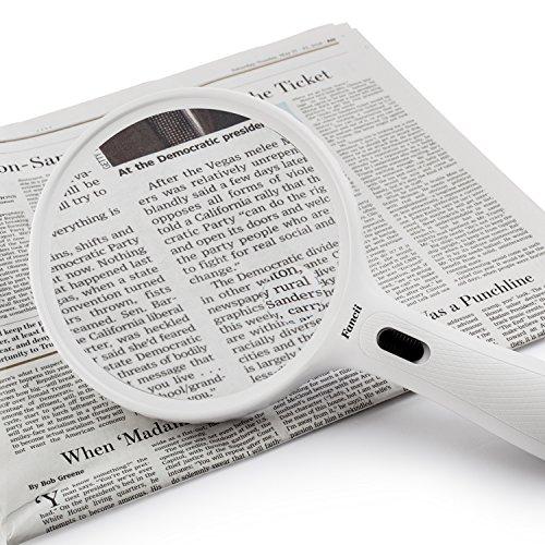 Fancii große Leselupe Lupe mit LED Licht und 2-fach 3,5-fach Vergrößerung - Grosse 138mm Beleuchtet Handlupe für Senioren zum Lesen - 7