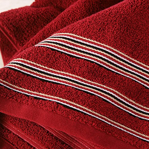 DANCICI Handtuch Baumwolltuch Baumwolle Verdickung Satin weiche dicke Wasseraufnahme atmosphärische Farbe 430g 140 * 72cm, rot Rot