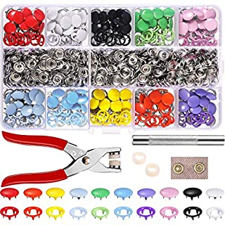 Lvcky 200 Set Hollow Solid Snap Fasteners Romper Snaps Pliers Craft Tool Prong Snaps Buckle Metal Ring Button Press Studs Sewing Craft 9.5 mm, 10 Colors
