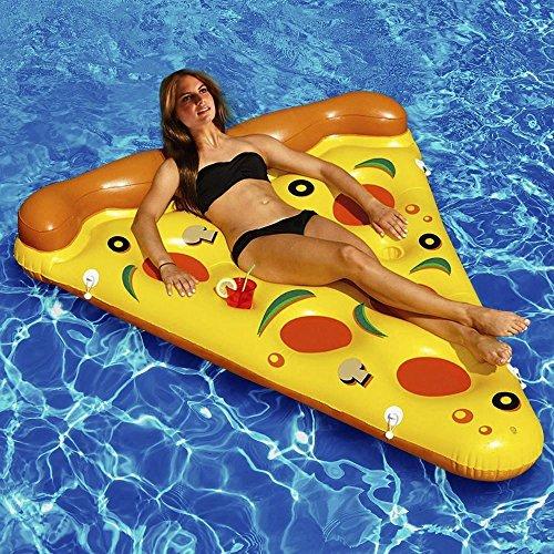 Kenmont Riesiger aufblasbarer Einhorn Pool Floß Inflatable schwebebett Unicorn Luftmatratzen Schwimmer Spielzeug Geschenke für Erwachsene Kinder (Pizza)