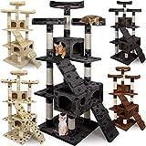 CADOCA® Katzenkratzbaum 3 Aussichtsplätzen, 2 Höhlen, 175cm - Beige - Kratzbaum Katzenbaum Katzenspielzeug