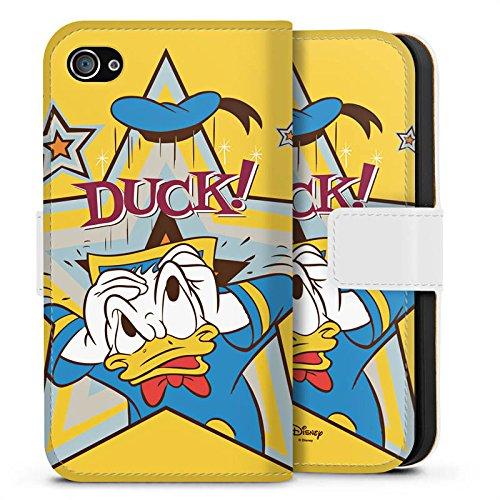 Apple iPhone X Silikon Hülle Case Schutzhülle Disney Donald Duck Fanartikel Geschenk Sideflip Tasche weiß