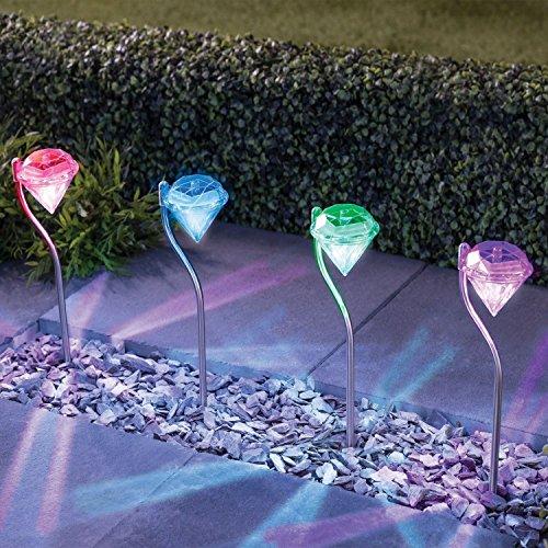 NEU 6x Multi Farbe Diamond Gartenstecker Light Bordüre Solar Outdoor LED-Lichtern, Terrasse, Zaun, Hof, Weg, Hall, Auffahrt, Garage, Gate (Solar Gate-leuchten)