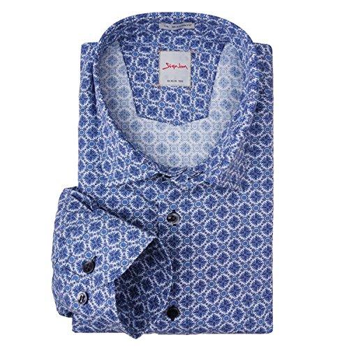 XXL Signum Langarmhemd blaues Allovermuster Mehrfarbig