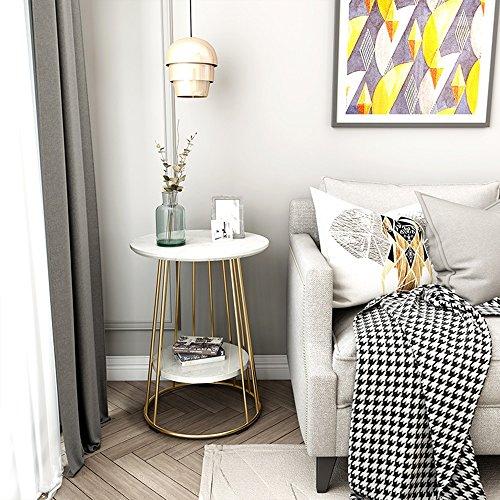 Tische HUO, Couchtisch Wohnzimmer Beistelltisch Kreative Nachttisch  Einfache Kleine 47 * 62cm Multifunktional (Farbe : Double White+Gold)