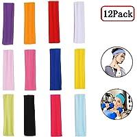Fascia Capelli Donna, Headband, Headband Sport, 12 Pezzi Allungare Elastici Yoga Cotone Colori Misti per Adolescenti…