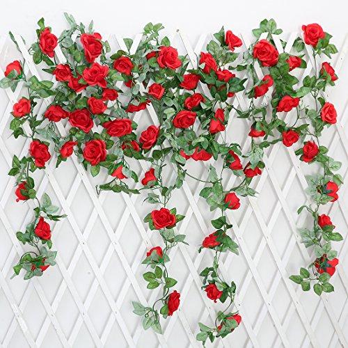 JUSTOYOU 2 Pack 7.2ft Künstliche Fake Rose Girlande Reben Hängende Seide Blumen für Outdoor Indoor Hochzeit Wand Badroom Dekoration (Rot)