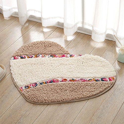 C&S CS Herzform Mat Mat Schlafzimmer Tür Fußmatte Bad Bad Tür Wasser Rutschfeste Matte (Color : Brown, Size : 50 * 65CM) - König Matratze Beschützer