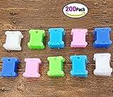 200 stück Garnwickelkarten Spulen Kunststoff Stickerei Zahnseide Spulen DIKETE Veranstalter Halter für Kreuzstich-Stickerei Floss & Craft DIY Nähen Aufbewahrung 5 Farben