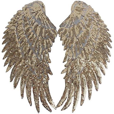 1 Par Parche Alas De Encaje De Lentejuelas para Coser Decoración Accesorios de ropa - Oro