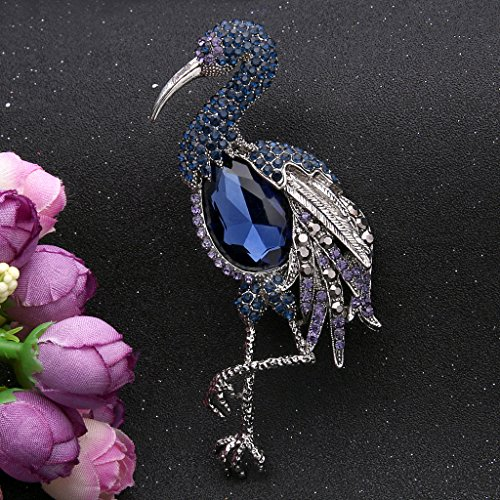 EVER FAITH® Strass Cristal Flamant Oiseau Animal Broche Pin Raffiné Bleu,Argenté