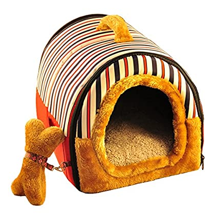ACTNOW Stripes Pet house 2-in-1 and Portable Sofa Non-Slip Dog Cat Igloo Beds Warm Lovely Gift 1