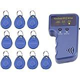Lot de 10 photocopieurs de cartes d'identité RFID portable 125 kHz + étiquette ID bleue
