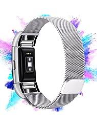 Mornex Fitbit Charge 2 Bracelet,Bande en Acier Inoxydable Réglable Milanaise Remplacment Sangle pour Fitbit Charge 2