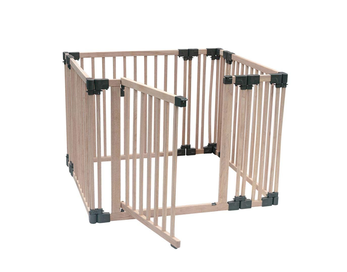Safetots Play Pen Wooden All Sizes (Square) Safetots This configuration is complete with 1x 80cm gate panel, 3x 80cm panels and 4x 20cm panels. Made from premium grade wood designed to compliment all home interiors. Extra Wide Door Section for Easy Access, with simple slide and lift opening mechanism. 2