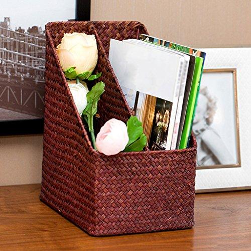 BBYE Livres Et Journaux Finishing Folder / Straw Boîte De Rangement De Bureau / Rattan Creative File Basket / Boîte De Rangement Multifonctionnelle ( couleur : #1 )