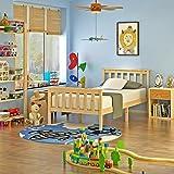 Pine Wooden Single Bed 3ft Frame Child Bedroom Bedstead Base with Slatted 2 Headboards