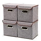 EZOWare 4-Pack Aufbewahrungsbox, 4-Pack Aufbewahrungsbox inkl. Deckel, Cube Aufbewahrungskorb Ordnungsystem Sauraum Boxen Körbe Kisten (Grau) - 25x25 cm