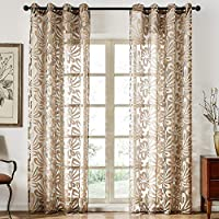 Top Finel cortina transparente de tratamientos para ventana panele con anillas,140 x 215 cm
