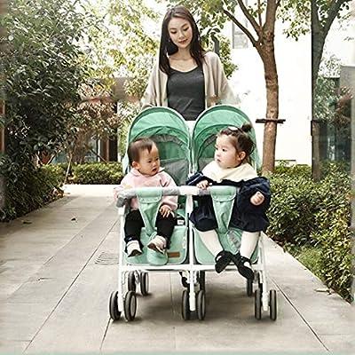 ZWX Cochecitos Gemelos,Silla gemelar para Gemelos y Hermanos de Cochecito con implementación bidireccional DE vehículos Plegables para Jardines,greenandpink