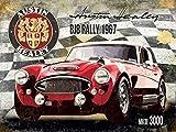 Austin Healey BJ8 Rally 1967. MK III 3000. MK3. Tre Rosso classic sport auto. Emblema e firma. Racing bandiera. Metallo/Insegna In Acciaio - 30 x 40 cm