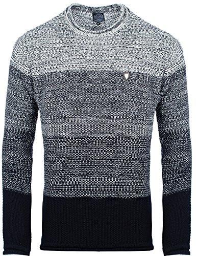 Carisma Herren - Strickpullover 7398 Streetwear Menswear Autumn/Winter Knit Knitwear Sweater CRSM CARISMA Fashion, Größe XXL, Farbe Navy (Navy Gepflegte Design)