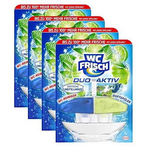WC FRISCH Duo-Aktiv Exotische Limette & Minze, WC-Reiniger und Duftspüler, 4er Pack (4 x 1 Stück)