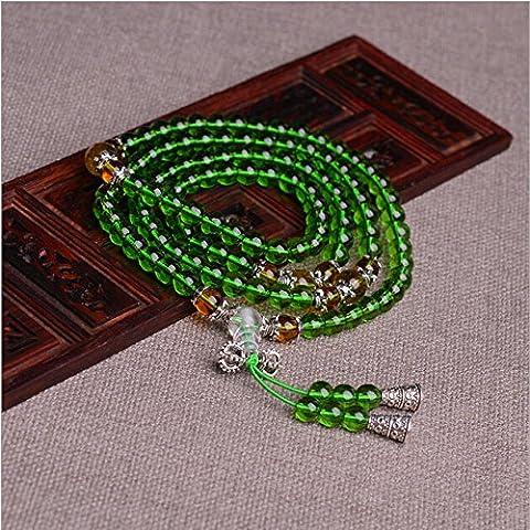 XJoel Gioielli 0,24 pollici 108 Beads Stone Energy preziosa delle donne degli uomini del braccialetto di Buddha Mala Verde Giallo - Buddha Bead