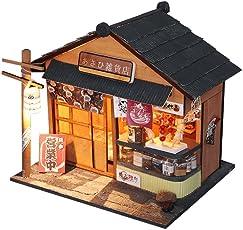 Godbless Puppenhaus 1 Stück DIY puppenhaus Japanischen Stil Miniatur puppenhaus mit Licht und Abdeckung als Geschenk für Kinder