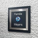 Metzler-Trade - Design Türklingel – inkl. Gravur – mit LED-Taster (verschiedene Farben wählbar) – aus V2A Edelstahl – modernes Design – Pulverbeschichtung in Anthrazit – Maße: 110 x 110 x 4 mm